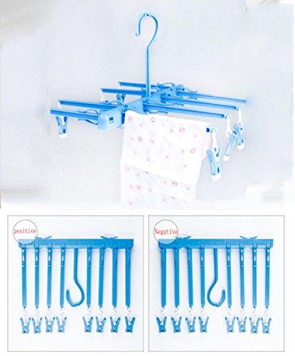 Zusammenklappbare Verwendung Trocknen Rack Balkon Badezimmer Doppelnutzen Aufhänger Kleine Kleidung Socken Und Unterwäsche Baby Kleidung Etc,Blue