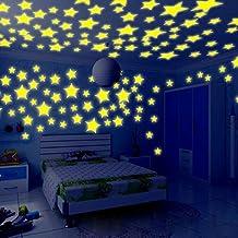 JiaMeng Decoración del hogar, 100PC niños Dormitorio Resplandor Fluorescente en Las Estrellas oscuras Pegatinas de