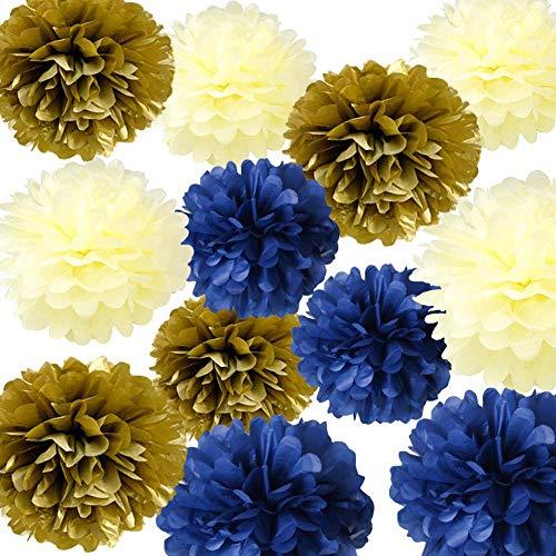 HappyField 12 STÜCKE Navy Gold Creme Seidenpapier Pom Poms Blume Royal Prince Baby Shower Dekorationen 1. Geburtstagskind Prinz Party Supplies Geburtstag Partydekorationen Brautdusche Dekorationen
