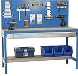 Werkbank mit Lochwand und Schublade - MDF Platte 16mm Traglast 600kg Farbe blau, Größe 144x90x60 cm