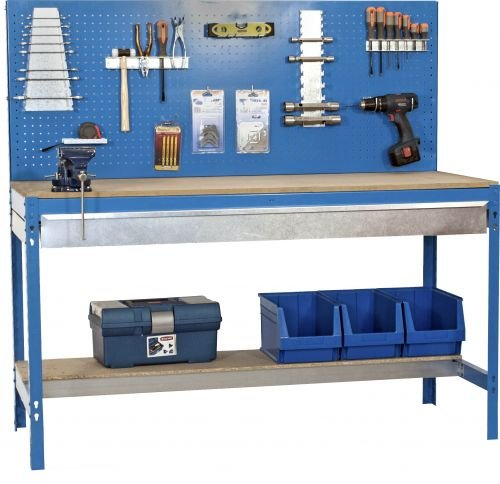 Werkbank mit Lochwand und Schublade - MDF Platte 16mm Traglast 600kg Farbe blau, Größe 144x120x60 cm
