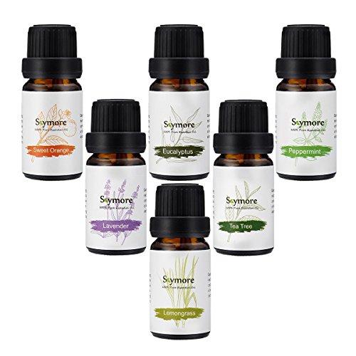 Nuova Generazione Umidificatori Aromaterapici naturali dell'olio essenziale Top 6Pcs --- Lavanda, arancia dolce, menta piperita, lemongrass, albero di tè, eucalipto. Migliore per il regalo