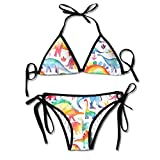 Women Sexy Swimwear Adjustment Colorful Dinosaur Cool Boxing Bikini Set Swimsuits 2 Piece Bikinis