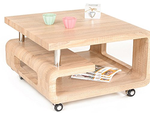 Table basse en bois Chêne Clair Sonoma - Dim : 70 x 70 x 42 cm -PEGANE-