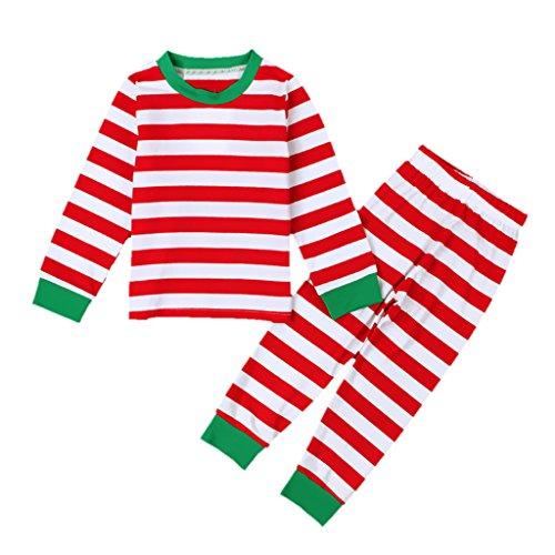 Gazechimp Kinder Jungen Mädchen Pyjama Schlafanzug Nachtwäsche 100% bio-Baumwolle Streifen - rot streifen, 44cm 5-6 Years Baby (Bio-baby-nachtwäsche)