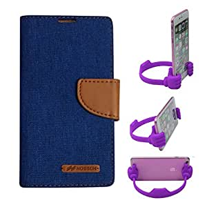 Aart Fancy Wallet Dairy Jeans Flip Case Cover for Apple6G (Blue) + Flexible Portable Mount Cradle Thumb OK Designed Stand Holder By Aart Store.