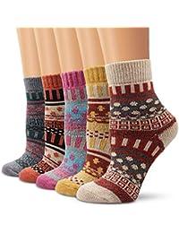 f6ed41d0bb Garsumiss calze di lana,5 paia di calzini da donna cotone calzini termici  dei calzini