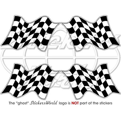 d Racing Win Waving Flag 5,1cm (50mm) Vinyl bumper-helmet Sticker, Aufkleber X4 (Checkered Race Flags)