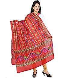 FEMEZONE EMBROIDED BANJARA DUPATTA QUEEN RED