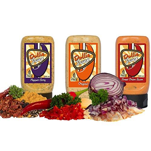 Dollie Sauce 3er Set, Original, Pepper Curry, Sweet Onion Bacon, 3 Tuben
