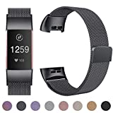 HUMENN Strap for Fitbit Charge 3, Milanese Metal Replacement Band Fully Adjustable Wristbands with Strong Magnet Lock for Fitbit Charge3, Large Space Grey