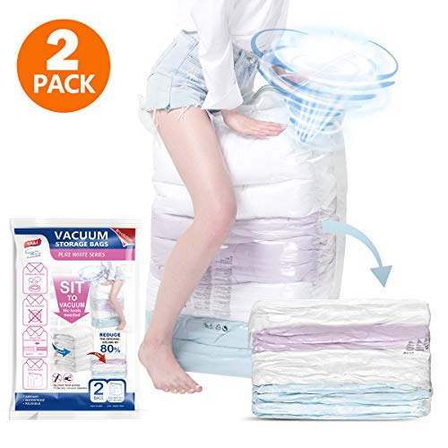 2 Stück Bettwäsche (TAILI Vakuumbeutel Cube Keine Handpumpe Benötigt Vakuum Aufbewahrungsbeutel Wiederverwendbar 80% Vakuumbeutel Kleidung 2 Stück 80x100x38cm für Kleidung Kissen Bettwäsche Bettdecken)
