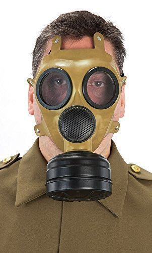 Herren-WW2 grün Gas Halloween Kostüm Maske (Gas Maske Halloween Kostüme)