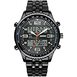Men's Watch Military Dual Time Zones Water Resistant With Calendar Function ( Color : Black )