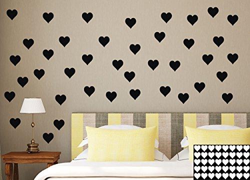 kleb-drauf® - 40 Herzen / Weiß - matt - Aufkleber zur Dekoration von Wänden, Glas, Fliesen und allen anderen glatten Oberflächen im Innenbereich; aus 19 Farben wählbar; in matt oder glänzend (Glas-wand-dekorationen)