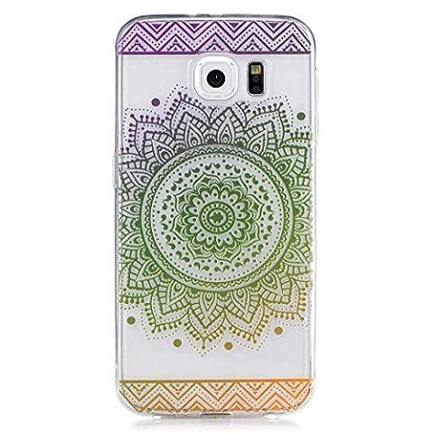 Coque iPhone 5/5S/SE, Wanyuda TPU Coque Crystal Transparente en gel de silicone souple en silicone pour iPhone 5/5S/SE–Noir Mandala