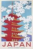 Affiche–Poster Vintage le Japon Railways + accessoires de fixation