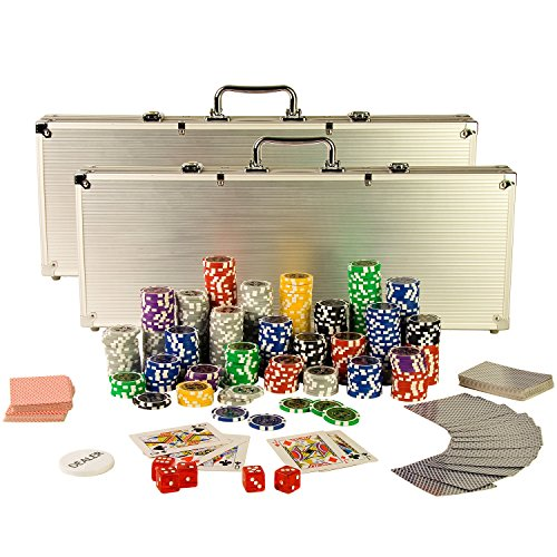 Ultimate Pokerset mit 1000 hochwertigen 12 Gramm METALLKERN Laserchips, inkl. 2x Pokerdecks, Alu Pokerkoffer, 5x Würfel, 1x Dealer Button, Poker, Set, Pokerchips, Koffer, Jetons