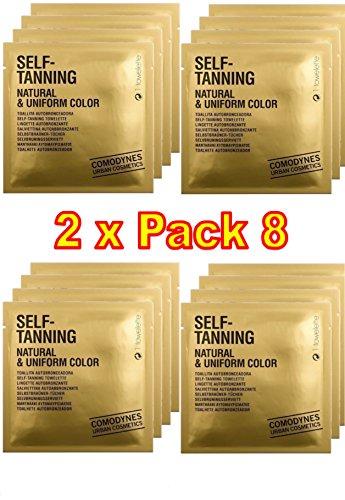Comodynes - Self Tanning Natural & Uniform Color - La toallita autobronceadora que proporciona un moreno inatural y uniforme - 2 Packs de 8 toallitas autobronceadora