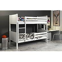 Litera 2 camas CLIR - para colchones de 200x90, madera de pino (blanco)