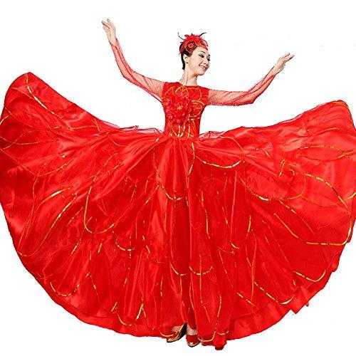 Byjia Frauen Flamenco Kleid 180 360 540 720 Degreen Unternehmen Schule Aktivität Sequins Big Bullring Eröffnung Tanz Rock Bühne Spanische Aufführung Red Skirt 360 (Kostüme Tanz Unternehmens)