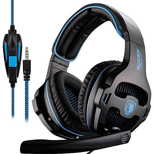 SADES SA810 Xbox One PS4 PC Gaming Headsets Kopfhörer, 3.5 mm Jack Gaming Headset Stereo Sound Over-Ear Kopfhörer mit Mikrofon Lautstärkeregelung (Stereo-headset Für Xbox One)