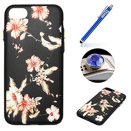 Coque pour iPhone 7 Plus,Étui iPhone 7 Plus Case,ETSUE Coque iPhone 7 Plus Slicone TPU Cover Housse de Téléphone avec Joli FleurTournesol fleur de pêcher en Relief ave Fond Noir Ultra Mince Coque iPho Rose Fleur 5#