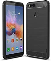 WOW Imagine Premium Shock Proof TPU Carbon Fibre Brushed Texture Back Case For Honor 7X - Carbon Black