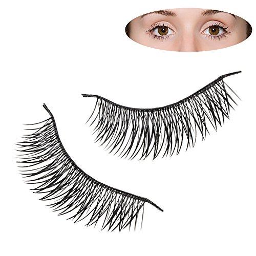 LQZ(TM) 10 Paire Magnétique Faux Cils Naturel Noir Long Maquillage Cosmétique False Eyelashes