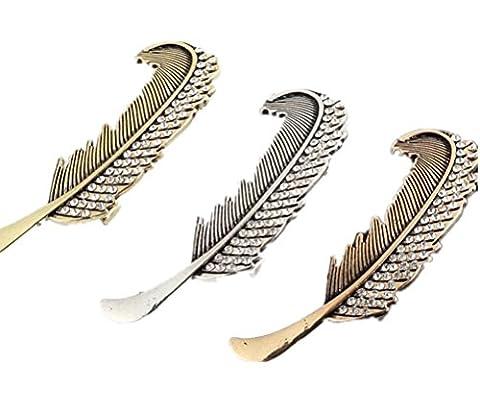 Cuhair 3pcs Punk blatt Feder metall kristallent wurf für Frauen mädchen-Haarclip Barrettes greifer zusatzges chenk clip accessories