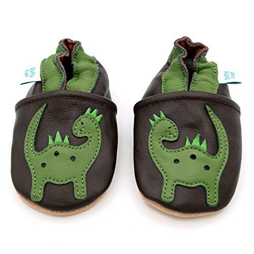 Pelle morbida ragazzi Scarpe con Tan pelle scamosciata suole da Dotty Fish - Neonato a 4-5 Anni Brown e Verde Dinosauro