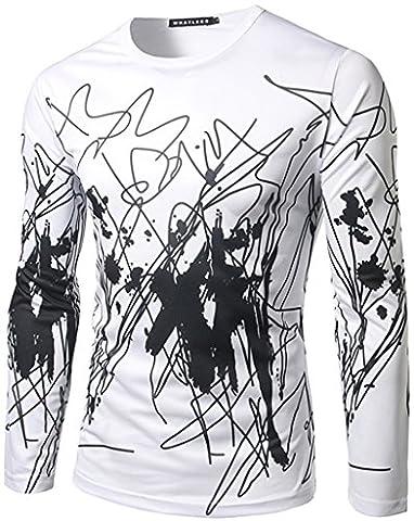 Whatlees Herren Hip Hop Slim Fit langärmliges Sweatshirts mit 3D Bunte Unregelmäßige Linie Print