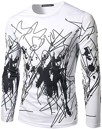 Whatlees Herren Hip Hop Slim Fit langärmliges Sweatshirts mit 3D Bunte Unregelmäßige Linie Print (Acne Pullover)
