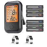 VIBIRIT Funk Grillthermometer, Digital Fleischthermometer Bluetooth Küchenthermometer mit 6 Sonden, Bratenthermometer für Küche,Grill, Essen, Milch, Steak,Fisch, BBQ, Unterstützt IOS, Android
