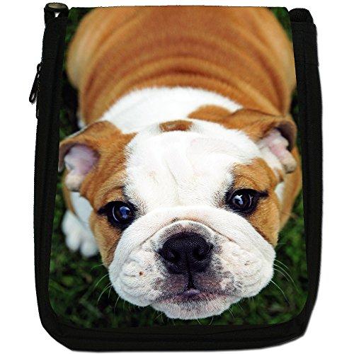 British Bulldog inglese Medio Nero Borsa In Tela, taglia M Cute Innocent Puppy Bulldog