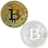 serie di 2 placcato in oro e collezionisti di monete commemorative da argentati bitcoin