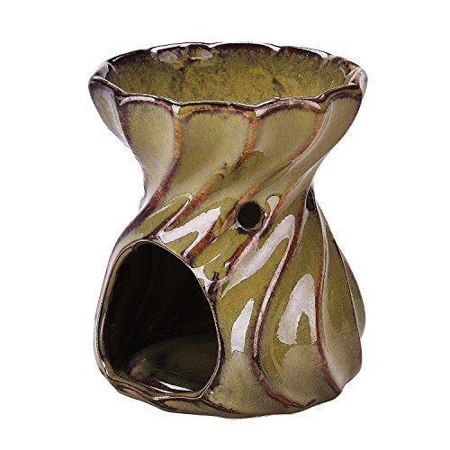 syndecho Keramik handgefertigt Teelichthalter, Öl/Wachs Brenner Wärmer (Kerze und Öl nicht im Lieferumfang enthalten) hellbraun (Wärmer Brenner)