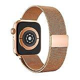LCLrute Apple Watch Series 4 44mm LCLrute Milanese Schlaufe Edelstahl Smart Watch Armbänder mit einzigartiger Magnetverriegelung für Apple Watch Series 4 (Roségold)