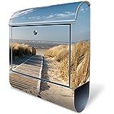 Design Briefkasten mit Zeitungsfach, Designer Motivbriefkasten mit Zeitungsrolle kaufen, für A4 Post, groß, bunt, Briefkastenschloss 2 Schlüssel, von banjado Motiv Dünen