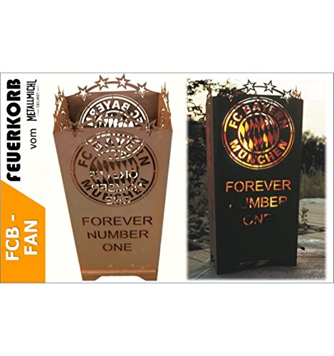 Metallmichl Edelrost FC Bayern Feuerkorb Forever Number One 83 cm Hoch, Feuertonne des FCB aus Rost Metall, Lizensiertes Produkt!