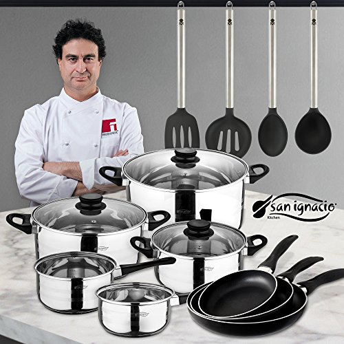 San Ignacio Juego de Sartenes  Utensilios Batería de Cocina  Aluminio  Negro  24 cm