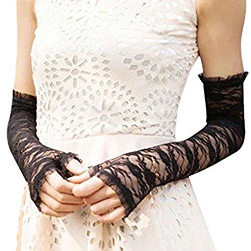 Damen Elegante Burlesque Opera Uv-Bademantel lang, mit Spitze, für die Braut/Hochzeit Autofahrerhandschuhe Ärmeln Gr. Medium, Schwarz - Black(Fingerless) (Braut-handschuhe Opera)