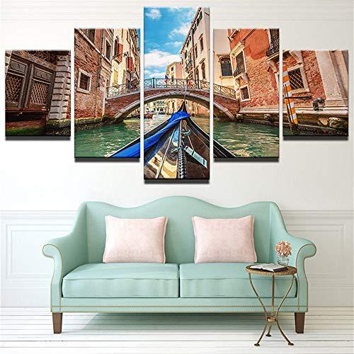 Malerei,HD Raumhintergrund, der fünf Segelbootmeerblick-Tintenstrahlhauptkunst-Anstrichwandgemälde 5 Anstrichkern 40x60cmx2 40x80cmx2 40x100cmx1 Malt ()