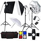 BPS - 900W Flash Estudio Fotografía Profesional Kit Completo para el Disparo de Retrato y Vídeo, Fotografía Publicitaria (3* 300W Estroboscópica Cabeza de Flash)