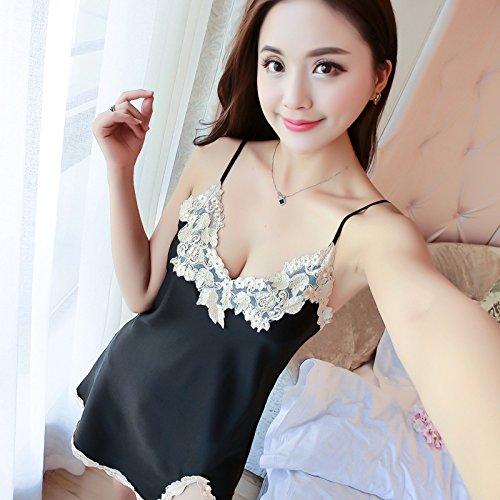 Price comparison product image Wanglele Suspenders Nightdress Summer Lady Silk Hollow Sling Nightdress Ultra-Short Nightdress Female,  Black,  M.