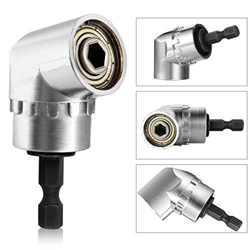 Qibaok Winkelschrauber Vorsatz Adapter mit 1/4-Zoll Schnellwechsel- und Magnetischen Bit Halter, Winkelschraubendreher Winkelgetriebe Winkelgetriebevor (Wechseln Platz)