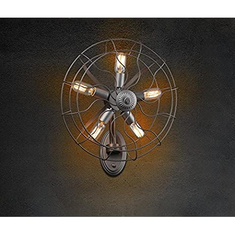 NHD-Vintage iron fan wall lamps, rural industrial corridor hotel and Cafe lamps creative personality, button-petal (Rivestimento Di Raffreddamento Fan)