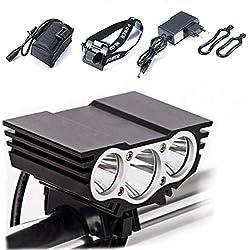 Luz Frontal Bici, Lámpara de la bici del búho, Modos impermeables LED frontal para manillar de bicicleta + paquete + cargador de la batería, luz ligera que acampa 7500 Lumen 3 LED negro