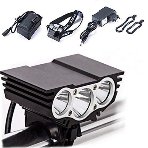 Éclairage avant de vélo, lampe de vélo Owl, modes de LED avant étanches pour guidon de vélo + batterie + chargeur, éclairage de camping 7500 Lumen 3 LED noir