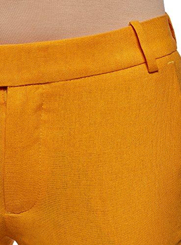 oodji Collection Donna Pantaloni Dritti in Lino Arancione (5500N)